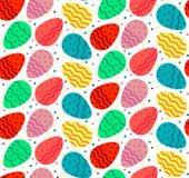 Naadloos patroon van kleurrijke golvende Eastrer-eieren Stock Afbeelding