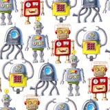 Naadloos patroon van kleurrijke robots op witte achtergrond stock illustratie