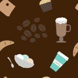 Naadloos patroon van koffie Stock Afbeeldingen