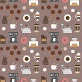 Naadloos patroon 2 van koffie vlak pictogrammen Royalty-vrije Stock Foto