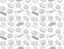 Naadloos patroon van krabbelkoekjes en koekje Stock Foto's