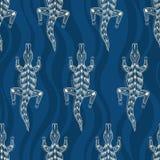 Naadloos patroon van krokodillensilhouetten Australisch art. vector illustratie
