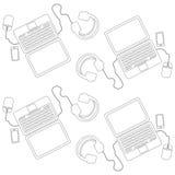 Naadloos patroon van laptop computer Royalty-vrije Stock Afbeeldingen