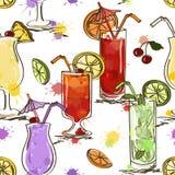 Naadloos patroon van levendige cocktails Stock Fotografie