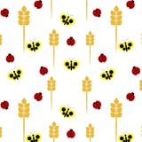 Naadloos patroon van lieveheersbeestjes en vlinders royalty-vrije illustratie