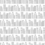 Naadloos patroon van lijnwolkenkrabbers Rebecca 36 Stock Afbeeldingen