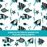 Naadloos patroon van mariene vissen plus geïsoleerd Royalty-vrije Stock Foto