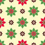 Naadloos patroon van mooie bloemen, rode en groene bloemen Royalty-vrije Stock Afbeelding