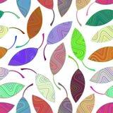Naadloos patroon van multi-colored gestreepte bladeren Stock Afbeelding