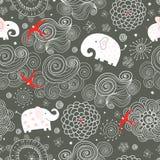 Naadloos patroon van olifanten in de wolken royalty-vrije illustratie