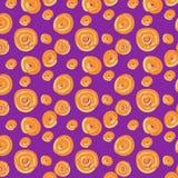 Naadloos patroon van oranje gebieden op een lilac achtergrond stock illustratie