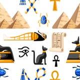 Naadloos patroon van oude Egyptische symbolen en decoratie Vlakke de pictogrammenillustratie van Egypte op witte achtergrond Webs royalty-vrije illustratie