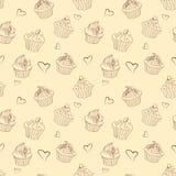 Naadloos patroon van overzichten heerlijke Kerstmis cupcakes stock afbeelding