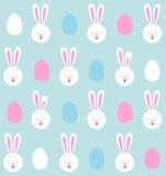 Naadloos patroon van Paashazen en gekleurde eieren Royalty-vrije Stock Afbeelding