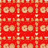 Naadloos patroon van peperkoekkarakters Illustratie De gelukkige affiche van de de Wintervakantie Nieuw jaar stock illustratie