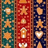 Naadloos patroon van peperkoekkarakters Vector illustratie De gelukkige affiche van de de Wintervakantie Nieuw jaar stock illustratie