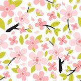 Naadloos patroon van perzik of kersen de tak van de bloesemboom met bloemen Stock Afbeelding