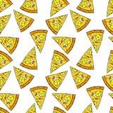 Naadloos patroon van pizza in beeldverhaalstijl royalty-vrije illustratie