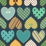 Naadloos patroon van plakboekharten Stock Foto