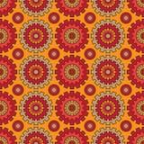 Naadloos Patroon van Radertjewielen in rood en geel Royalty-vrije Stock Foto