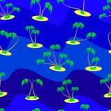 Naadloos patroon van reeks verschillende palmen op een blauwe rug Royalty-vrije Stock Afbeelding