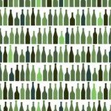Naadloos patroon van rijen van multi-colored wijnflessen, vectorillustratie royalty-vrije illustratie