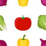 Naadloos patroon van rijpe groenten van de tuin Gele Peper Royalty-vrije Stock Foto