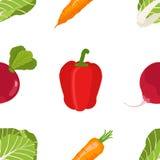 Naadloos patroon van rijpe groenten van de tuin Spaanse peper, Stock Fotografie