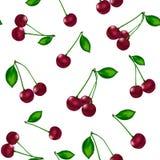 Naadloos patroon van rijpe kersen met groene bladeren vector illustratie