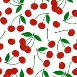 Naadloos patroon van rijpe rode bessen van een kers met bladeren vector illustratie