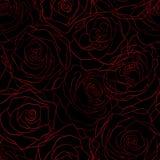 Naadloos patroon van rode rozen op de contouren van een zwarte achtergrond Stock Foto's