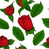 Naadloos patroon van rode rozen op witte achtergrond Royalty-vrije Stock Fotografie