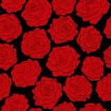 Naadloos patroon van rode rozen op zwarte achtergrond Royalty-vrije Stock Foto's
