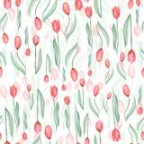 Naadloos patroon van rode tulpen royalty-vrije illustratie