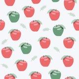 Naadloos patroon van roze en groene appelen op grijze achtergrond Stock Afbeelding