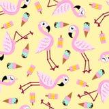 Naadloos patroon van roze flamingo en roomijs Het kan voor prestaties van het ontwerpwerk noodzakelijk zijn Stock Foto