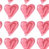 Naadloos patroon van roze waterverfharten op een witte achtergrond Stock Afbeelding