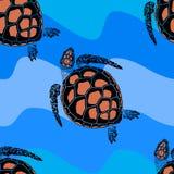 Naadloos patroon van schildpadden Stock Afbeeldingen