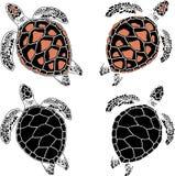 Naadloos patroon van schildpadden op een zwarte achtergrond Royalty-vrije Stock Foto