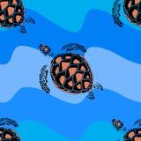 Naadloos patroon van schildpadden op een zwarte achtergrond Royalty-vrije Stock Fotografie