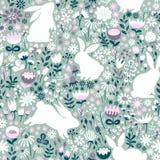 Naadloos patroon van silhouetten van konijnen en wildflowers Stock Afbeeldingen