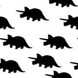 Naadloos patroon van silhouetten van triceratops vector illustratie
