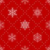 Naadloos patroon van sneeuwvlokken, wit op rood Stock Afbeeldingen