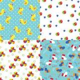 Naadloos patroon van speelgoed, stip, sokken, sterren Royalty-vrije Stock Fotografie