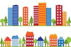 Naadloos patroon van stad, stad of dorp Stock Afbeeldingen