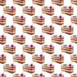Naadloos patroon van stuk cakes met room en kers De illustratie van de waterverf stock illustratie