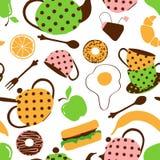 Naadloos patroon van theestel en ontbijtvoedsel Stock Afbeeldingen