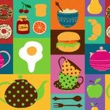 Naadloos patroon van theestel en ontbijtvoedsel Stock Afbeelding