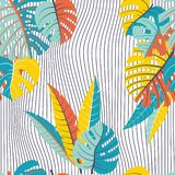 Naadloos patroon van tropische bladeren en golf stock illustratie