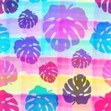 Naadloos patroon van tropische bladeren op de waterverf gestripte achtergrond vector illustratie